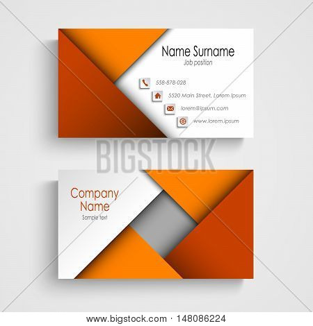 Business card with abstract orange triangles template vector eps 10