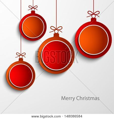 Christmas card with abstract orange and red balls vector eps 10