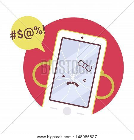 Broken angry girl smartpone in a red circle. Cartoon vector flat-style concept illustration