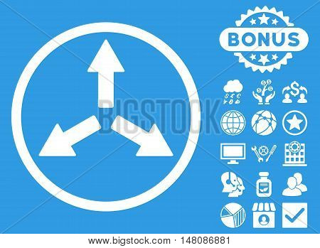 Expand Arrows icon with bonus pictures. Vector illustration style is flat iconic symbols white color blue background.