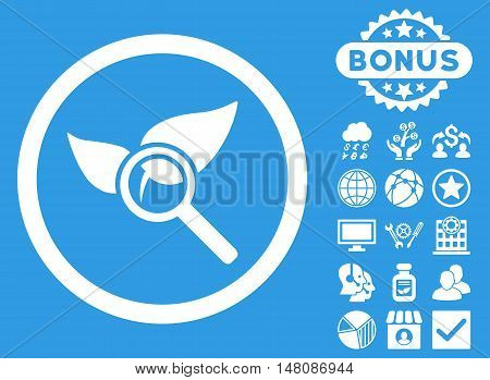 Explore Natural Drugs icon with bonus design elements. Vector illustration style is flat iconic symbols white color blue background.