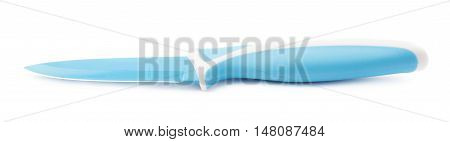 Steel blue kitchen knife isolated over the white background