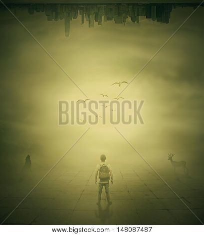 Surrealistic image with a man standing in a foggy street below a city buildings choosing the correct way
