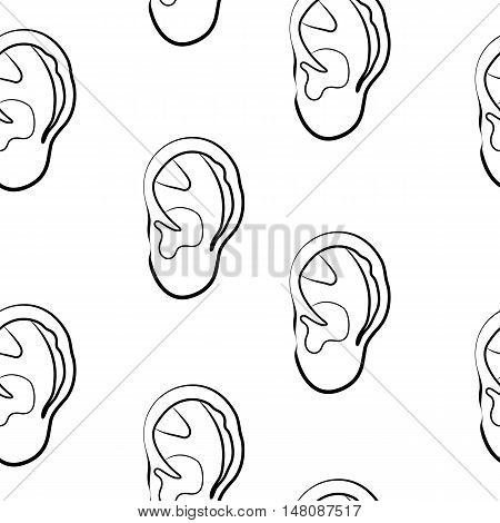 sketch of human ear on white background, isolated. Seamless pattern.