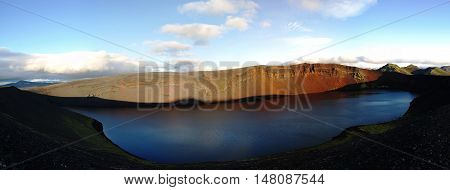 Lljotipollur crater lake in Landmannalaugar valley Iceland