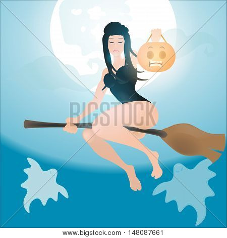 half-naked witch flying on a broom, big moon in the background, happy Halloween
