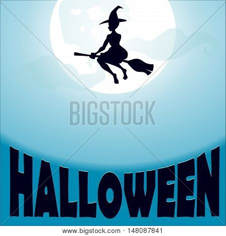 silhouette of beautiful witch with hat flying on a broomstick on the background of the moon and the sky