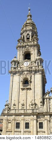 One of the towers of the Cathedral known as Tower of Bells in Santiago de Compostela Spain.