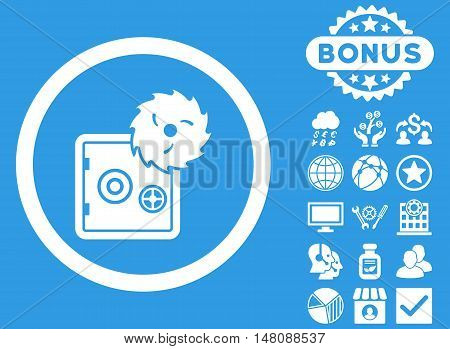 Hacking Theft icon with bonus pictures. Vector illustration style is flat iconic symbols white color blue background.