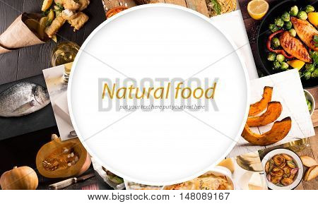 Collage of different pictures of natural food with copy space in the center