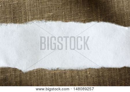 Ragged Piece Of Paper On Sack