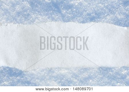 Piece Of Paper On Snow Background