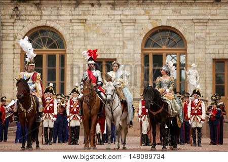 GATCHINA, ST. PETERSBURG, RUSSIA - SEPTEMBER 10, 2016: Actors in images of Emperor Nicholas I and other nobles in front of Gatchina palace during the festival Gatchinskaya Byl