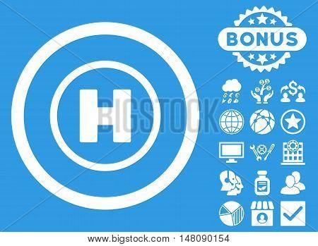 Helicopter Landing icon with bonus elements. Vector illustration style is flat iconic symbols white color blue background.