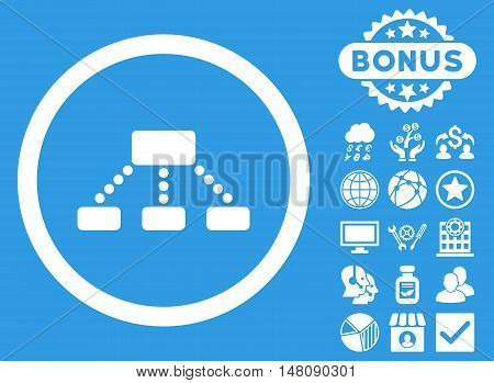 Hierarchy icon with bonus pictures. Vector illustration style is flat iconic symbols white color blue background.