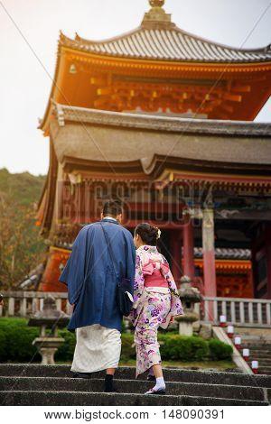 Japanese Couple At Kiyomizu Temple, Kyoto