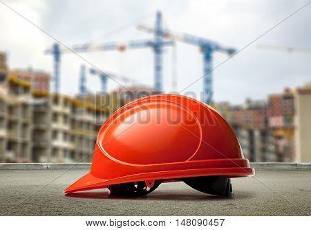 Red Helmet On Buildings And Cranes