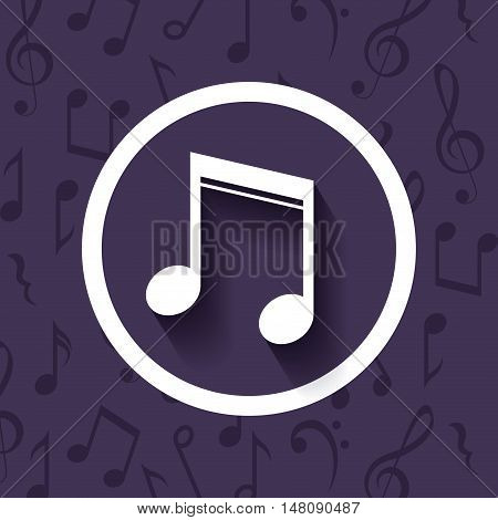 Music note inside button icon. Sound melody and musical theme. Colorful design. Vector illustration