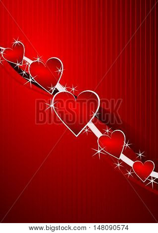 Red vector valentine background with hearts. Love greeting card.