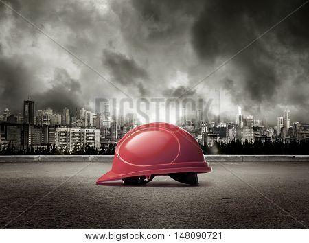 Helmet On View Of City In Stormy Sky