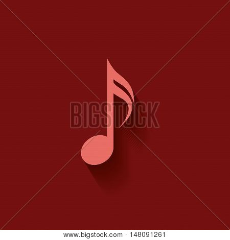 Music note icon. Sound melody and musical theme. Colorful design. Vector illustration
