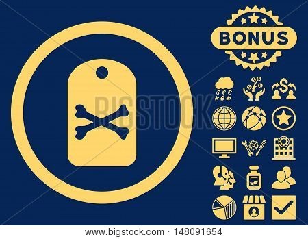 Death Tag icon with bonus symbols. Vector illustration style is flat iconic symbols yellow color blue background.