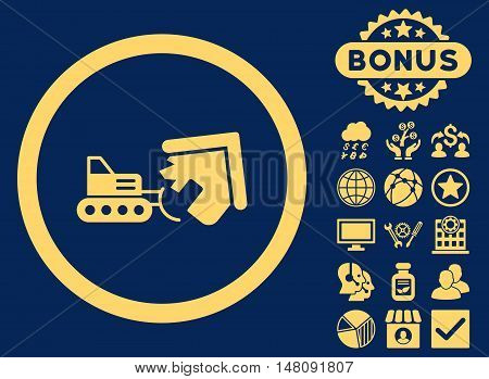Demolition icon with bonus pictures. Vector illustration style is flat iconic symbols yellow color blue background.