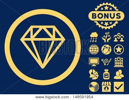 Diamond icon with bonus pictures. Vector illustration style is flat iconic symbols yellow color blue background.