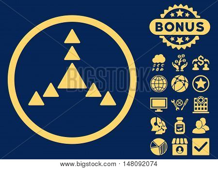 Direction Triangles icon with bonus images. Vector illustration style is flat iconic symbols yellow color blue background.