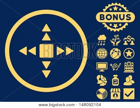 Direction Triangles icon with bonus symbols. Vector illustration style is flat iconic symbols yellow color blue background.