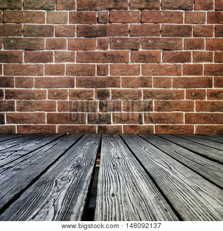 Rostrum Made Of Wooden Planks On Brick Wall