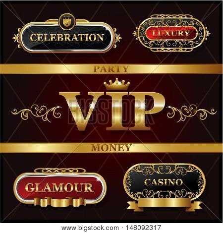 Vintage golden VIP and luxury banner  sign