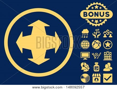 Directions icon with bonus elements. Vector illustration style is flat iconic symbols yellow color blue background.