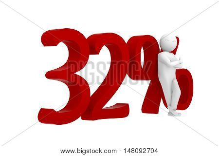 3D Human Leans Against A Red 32%