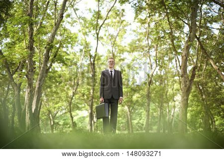 Green Businessman Environmental Conservation Businessman Standing Concept
