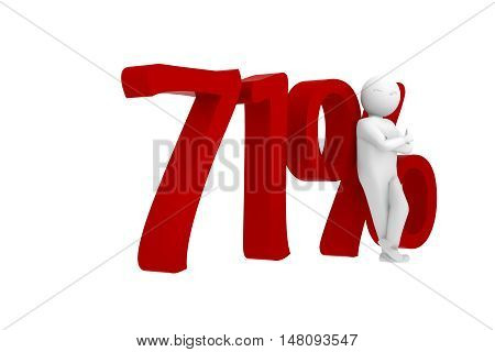 3D Human Leans Against A Red 71%