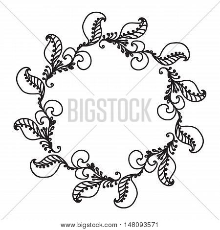 Hand Drawn Ornamental Circle Frame