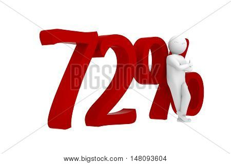 3D Human Leans Against A Red 72%