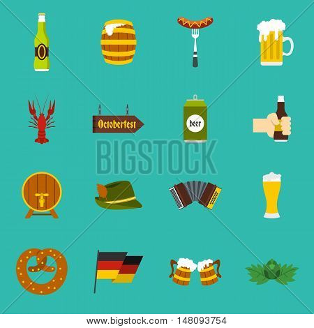 Oktoberfest icons set in flat style on a baby blue background. Germany fest vector illustration