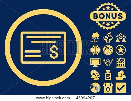 Dollar Cheque icon with bonus symbols. Vector illustration style is flat iconic symbols yellow color blue background.
