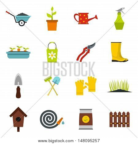 Gardening icons set in flat style. Garden tools set collection vector illustration