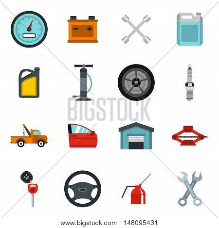 Car maintenance and repair icons set in flat style. Auto service set collection vector illustration