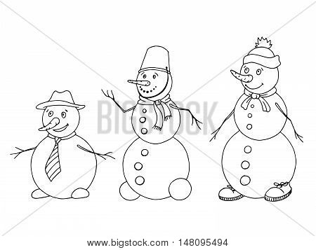 Snowman graphic art black white sketch isolated illustration vector