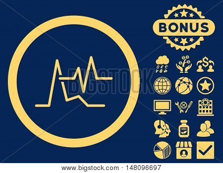 ECG icon with bonus symbols. Vector illustration style is flat iconic symbols yellow color blue background.