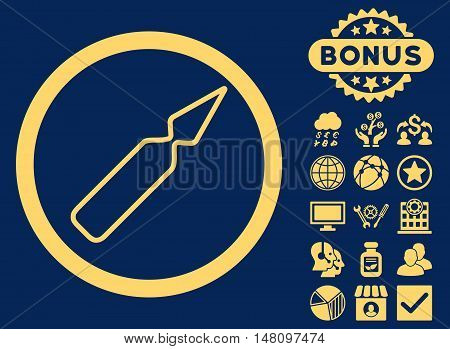 Empty Ampoule icon with bonus pictogram. Vector illustration style is flat iconic symbols yellow color blue background.