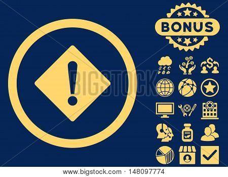 Error icon with bonus design elements. Vector illustration style is flat iconic symbols yellow color blue background.