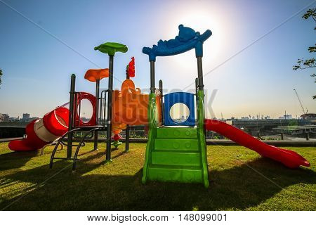 Colorful Of A Funny Kid Playground With Sky Background