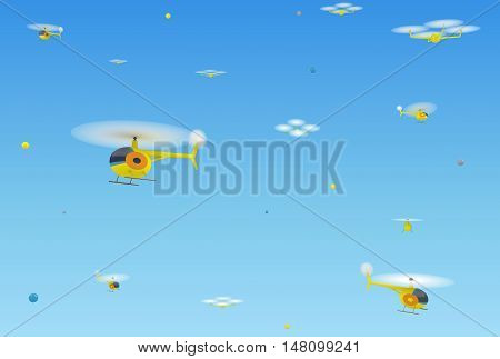 Abstract background with helicopters and quadrocopters against the clear sky. 3d illustration