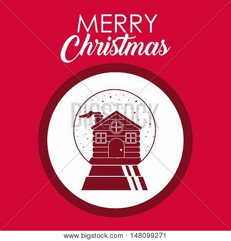 House inside circle icon. Merry Christmas season and decoration theme. Colorful design. Vector illustration