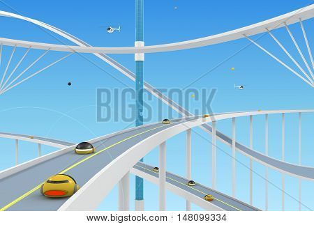 Abstract conceptual background with roads and bridges on a background of clear sky. 3d illustration